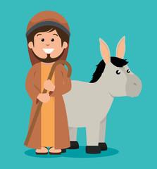 cute joseph and donkey manger design vector illustration eps 10