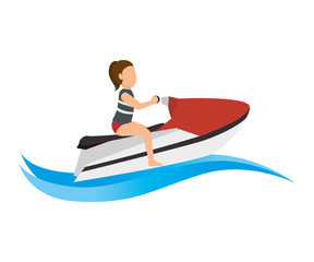 girl riding water bike sport vector illustration eps 10