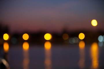 Blurred night lights of the city abstract background.