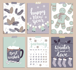 Vector collection of Christmas poster templates. Christmas set of greeting cards. Bright colors. hot chocolate and hand written lettering for your invitation and design.