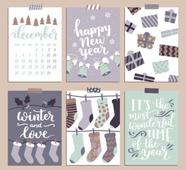 Vector collection of Christmas poster templates. Christmas set of greeting cards. Bright colors. presents and hand written lettering for your invitation and design.