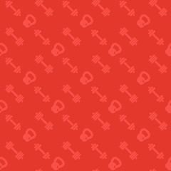 seamless pattern with fitness icons, dumbbells and kettlebell, red background
