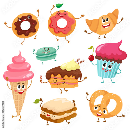 """""""Set of funny dessert characters - donut, croissant ..."""