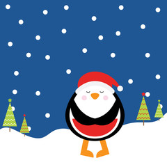 Christmas illustration with cute penguin on night background suitable for children Xmas greeting card, wallpaper, and postcard