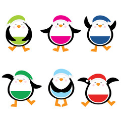 Christmas illustration with cute colorful penguin suitable for children Xmas sticker set and clip art