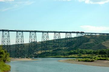View of Train Crossing the Lethbridge Viaduct Bridge in Alberta Canada