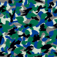 Forest mixed war camouflage seamless pattern. Can be used for wallpaper, pattern fills, web page background, surface textures
