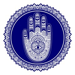 Vector Indian hand drawn hamsa symbol ornament print. Ethnic Man