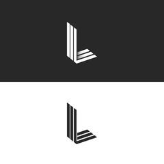 Monogram L logo hipster letter, isometric shape LLL emblem 3D parallel thin line, mockup linear initials typography design element