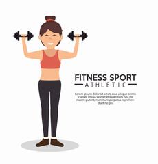 fitness sport athletic girl holds dumbbells vector illustration eps 10