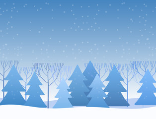 Beautiful Chrismas winter flat landscape background. Christmas forest woods. New Year vector greeting card.