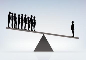 Symbole du pouvoir déséquilibré entre un patron et ses employés