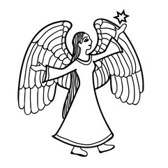 Vector illustration of angel with star black and white