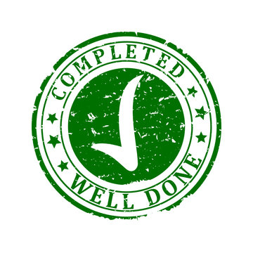 Scratched round green stamp with the words - completed, well done - Vector svg