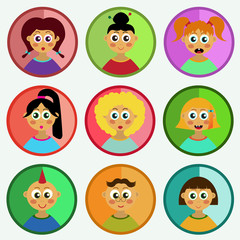 Children portraits avatars flat cute vector set