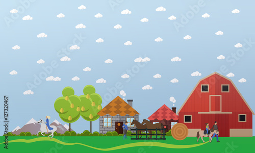 Horse farm, stable, horses and stablemen, equitation, vector illustration
