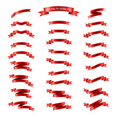 Red ribbons vector set on white background. Premium ribbons set.