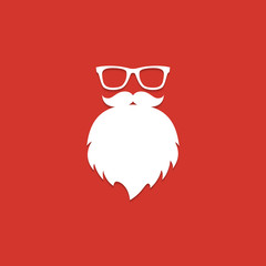 Santa Claus beard and glasses. White silhouette with long shadow