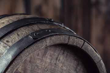 Wooden barel. Old wooden keg. Barel on beer vine whiskey brandy rum or cognac.