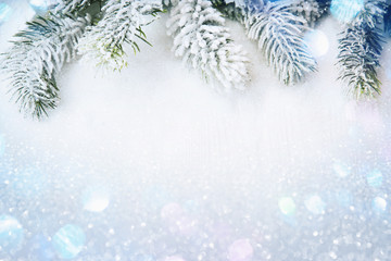 Winter decorations with snow