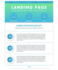 Landing page template, website design, in blue, green and white
