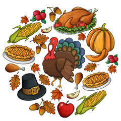 Round template with Thanksgiving icons