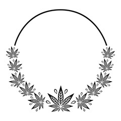 Round black and white frame of stylized cannabis leaf.