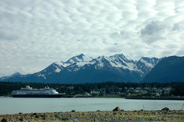 Cruise Ship Docked at Haines Alaska on a Cloudy Day