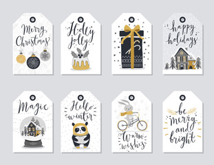 Fototapete - Christmas tags set, hand drawn style.