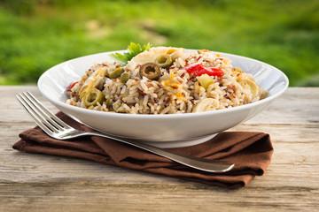 Insalata di riso integrale, brown rice salad