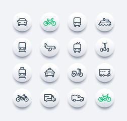 Transport line icons set, car, ship, train, airplane, van, bike, motorbike, camper, bus, taxi, trolleybus, subway, public transportation