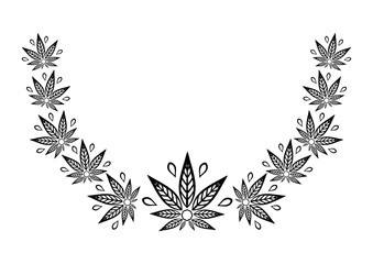 Decorative semicircular element of cannabis. Border of stylized hemp leaf to create promotional products, logos, decoration items.