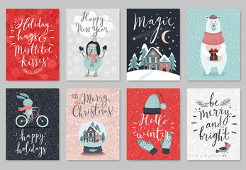 Fototapete - Christmas card set, hand drawn style.