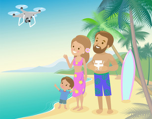 Family woman man mother father and kid child son on seashore with palm  vacation launch drone quadrocopter to take photo of video from holidays vector