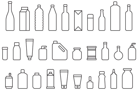 BOTTLES & CONTAINERS outline icons
