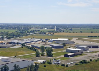 aerial view of an industrial area near the airport in Brantford, Ontario Canada