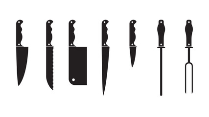 Knife Set black silhouette. Set of different knifes black silhouette icons isolated on white background. Set blade icon design element.