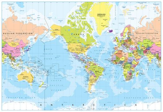 World Map - America in center - Bathymetry