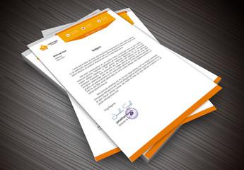 Orange Banner Element Letterhead Layout