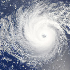 Huge hurricane over Pacific Ocean. Satellite photo.