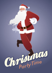 Christmas Party Time. Funny Santa Claus dancing swing, charleston or jazz