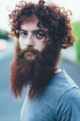 Portrait of curly haired, bearded young male hipster