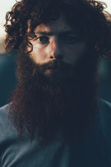 Portrait of staring, bearded young male hipster