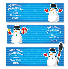 Set of Merry Christmas banner. Cute Snowman in different poses. Merry Christmas and Happy New Year 2017. Stripped background. Design flyer, poster, greeting card. Cartoon style. Vector illustration