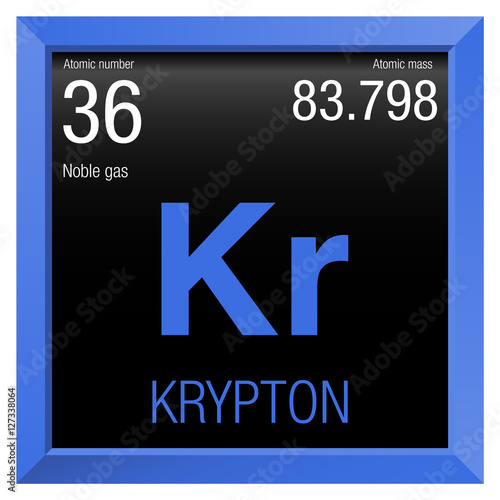 Krypton Symbol Element Number 36 Of The Periodic Table Of The