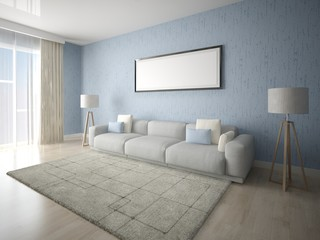 Mock up poster modern living room with a sofa on a blue background.