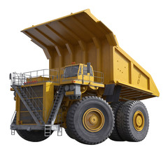 Very big yellow dump-body truck on white. 3D illustration