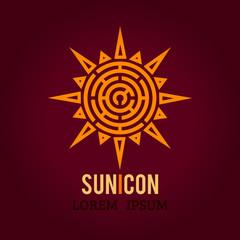 Tribal patterned ethnic Sun logo icon. Sunburst, beam, summer, nature, sky. Sunshine logo. Labyrinth shape design radial element. Idea for logo or corporate identity. Vector illustration