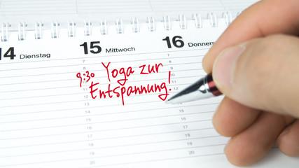Yoga zur Entspannung / Termin im Terminkalender / Terminplaner