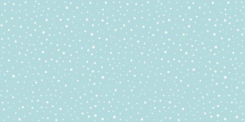 White snow falling on sky blue background seamless pattern. Flat style snowfall repeating texture for christmas greeting card or banner. Vector eps8 illustration. Wall mural